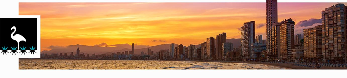 Benidorm skyline at sunset beach in Alicante